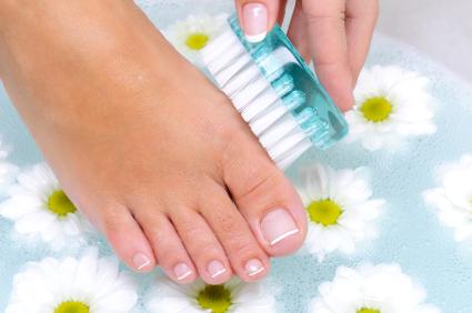 Coconut oil foot scrub.